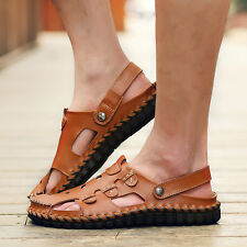 Mens Fashion Casual Genuine Leather Slippers Sport Walking Summer Beach Sandals