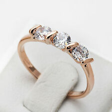 Concise Crystal Ring 18K Rose Gold Silver Plated Austrian Crystals Wedding