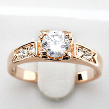 Classic Wedding Ring 18K Real Rose Gold & Silver Plated Austrian Crystals #051