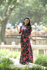 New AO DAI Vietnam CUSTOM MADE, Chiffon & Satin, Floral Pattern, Ao Dai Dress