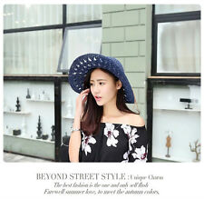 Women Beach Hat Wide Brim Cap Foldable  Wide brim Pierced Summer Sun Straw Hats