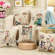 45×45cm Modern Fashion Girl Cotton Linen Throw Pillow Case Cushion Home Decor