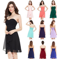 AU Ladys Strapless Short Chiffon Cocktail Bridesmaid Mini Dress Prom Party Gown