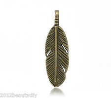 Wholesale DIY Jewelry Bronze Tone Feather Charm Pendants 30x9mm