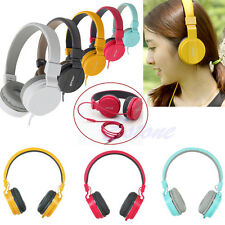 3.5mm Stereo Headphone Earphone Over-Ear Headset With Mic For PC iPhone iPod MP4