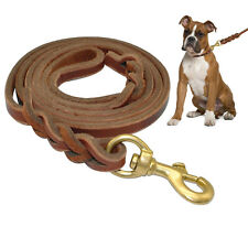 Brown Braided Genuine Leather Dog Lead Leash with Durable Snap Anti-Bite 3 Size