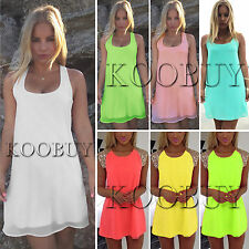 Womens Chiffon Long Top Blouse Summer Sleeveless Mini Dress Sequins Blouse Shirt