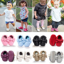 Fashion Baby Boys Girls Kids Bowknot Tassel PU Leather Shoes Moccasin Soft Sole