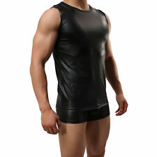 Sexy Mens Underwear Black Faux Leather Vest Tank Top Clubwear Undershirt XL L M