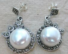 NEW 925 Sterling Silver BIG 12mm Freshwater PEARL & Marcasite Elegant Earrings