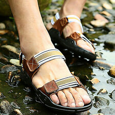 Mens Genuine Leather Walking Sandals Casual Sport Summer Open Toe Sandles