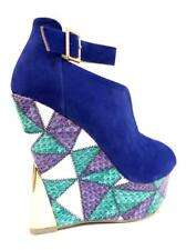 Liliana Blue Faux Leather Platform Wedge Sexy Slingback Womens Shoes Sander-24