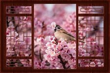 3D China Window Decal WALL STICKER Home Decor Cherry Blossom Art Wallpaper A1 R2