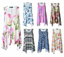 New Women Ladies Sleeveless Floral Print Hanky Hem Baggy Loose Flared Swing Tops