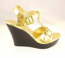 New Gold Strap Agape Fashion Buckle Open Toe Platform Mid High Heel Wedges Shoes