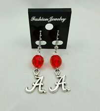 ALABAMA CRIMSON TIDE TIBETAN SILVER DANGLE EARRINGS
