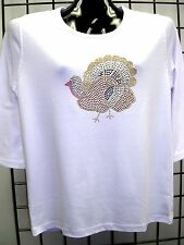 XL 18/20 THANKSGIVING CHRISTMAS TURKEY ART DESIGN TERAZZO WOMENS SWEATER OPTION
