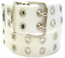 Canvas 2 Hole With Silver Grommet Belt In WHITE  XS-XL