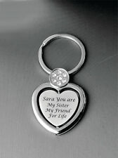 PERSONALIZED SILVER HEART WITH CRYSTALS PICTURE FRAME LOCKET KEYCHAIN ENGRAVED