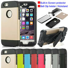 Heavy Duty Armor Case +Screen Protective +Belt Clip Holster For iPhone & Samsung