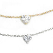 Cubic Zirconia Heart Charm Pendant Chain Necklace Made in Korea
