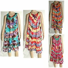 Women Tie Dye Batik Tunic Tops Sun dress  Beach Summer Boho KaftanTeen S/M/L/XL