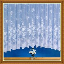 NEW LARA WHITE JARDINIERE NET CURTAIN PANEL FLORAL SCROLL TULIP FLOWER