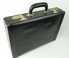"Vintage Top Grain Leather Black Combination Briefcase 17"" x 12"" Distressed"