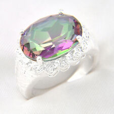 New Holiday Gift Oval Colored Fire Mystic Topaz Gems Silver Plated Ring Sz O Q S