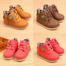 Children Boys Girls Fashion Boots Toddler Kids Soft Flats Shoes Lace up Casual