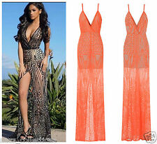 CELEB SEXY CORAL NUDE SEQUIN SHEER MESH SLIT MAXI FISHTAIL PARTY PROM DRESS 8-18