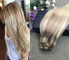 """22"""" THICK DIP DYE BALAYAGE OMBRE CLIP IN REMY HUMAN HAIR EXTENSION LIGHT BLONDE"""