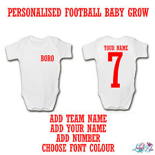Personalised Football Baby Grow | Any Club Nickname | Add Your Name | Supporter