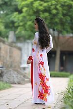 Floral Pattern, Custom Made Ao Dai, New AO DAI Vietnam, Chiffon & Satin