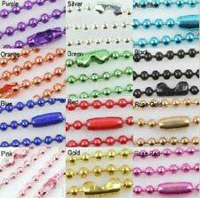 Wholesale Lots 2/5/20PCS 12 COLOR Ball Metal 2.4mm Beads Chains Necklace Finding