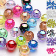 50/100Pcs Plated AB Acrylic Round Loose Spacer Beads Jewelry Finding DIY 8MM