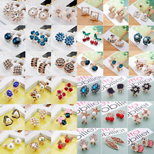 Elegant Women Girls Crystal Rhinestone Flower Ear Stud Earrings Jewelry Gift New