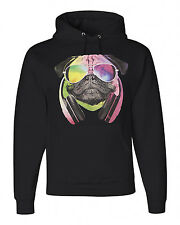 NEW! JERZEES *PUG RAVE* PUG LIFE HEADPHONES* Pug Dog Face DJ Hooded Sweatshirts