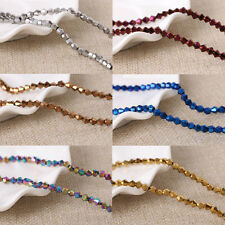50/100Pcs Metallic Faceted Crystal Glass Bicone Loose Spacer Beads Cfaft 4/6/8MM