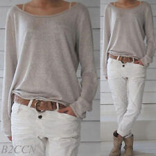 Womens Casual Shirt O-Neck Long Sleeve Cotton Jumper Loose Pullover Tops Blouse