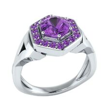 0.80 ct Natural Round Purple Amethyst Solid Gold Wedding Engagement Ring