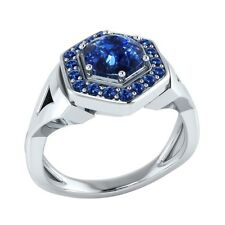 0.80 ct Natural Round Blue Sapphire Solid Gold wedding Engagement Ring