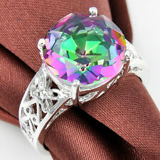 Gorgeous Round Fire Mystic Topaz Gem .925 Sterling Silver Plated Ring Sz O Q S