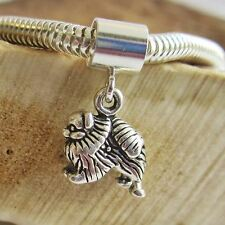 Pomeranian Charm and Bracelet -Mini Sterling Silver European-Style-Free Shipping