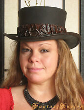 Steampunk Hat Victorian Leather Standard Top Hat Custom Colored Wrinkles Band