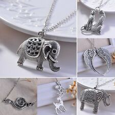 Retro Silver Elephant Leopard Wing Pendant Necklace Women Long Chain Jewelry Hot