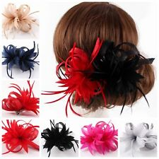 Sinamay Fascinator Hat Derby Hairclip Flower&Feather Wedding Hairband Accessory
