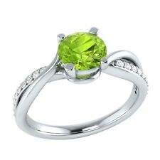 0.70 ct Natural Peridot & Certified Diamond Solid Gold Wedding Engagement Ring