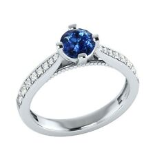 0.80 ct Natural Sapphire & Certified Diamond Solid Gold Engagement Wedding Ring