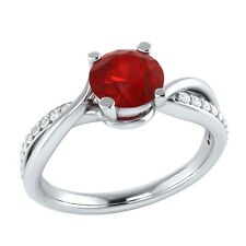 0.70 ct Authentic Red Ruby & Certified Diamond Solid Gold Engagement Ring